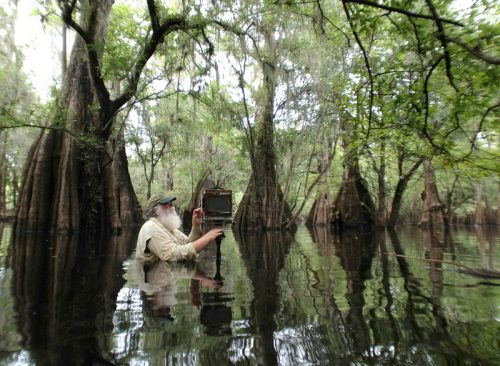 Clyde-Butcher-photographing-in-Florida-swamp