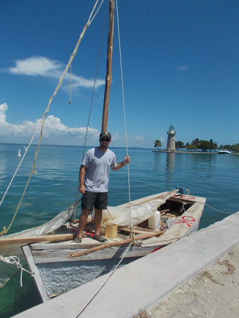 Picture of Man on small boat, Cuban Migrant Craft